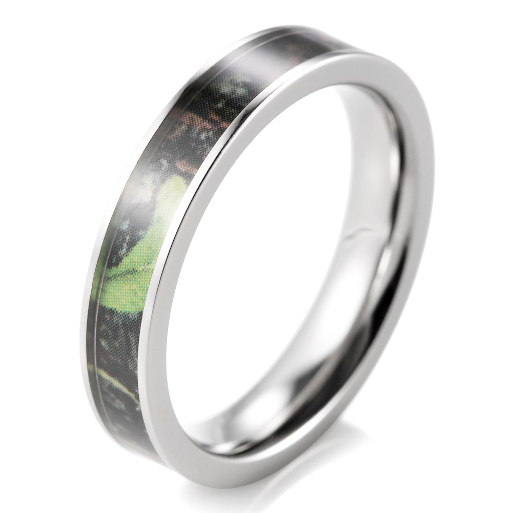 SHARDON Women's 4mm Titanium Greenery Camouflage Ring Size 8