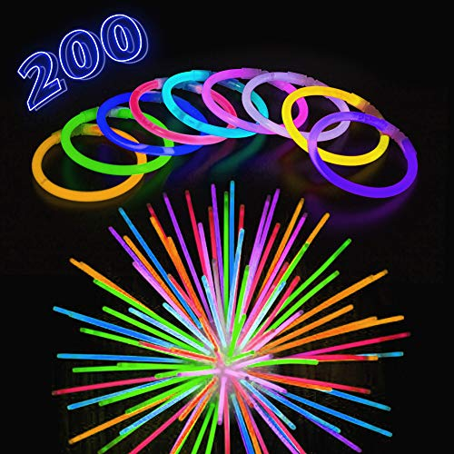 "Glow Stick Bracelets for Halloween - 200 Pack Extra Bright Glow in The Dark Light Sticks with Strong Connectors - 8"" Bulk Wristbands in 9 Vibrant Neon Colors - Supplies to Light Up Any Kids Party"