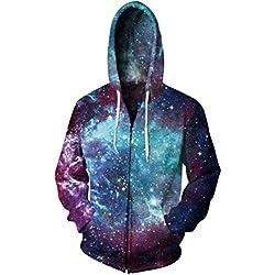 Galaxy3D Zipper Hoodies Men/Women Spiral Nebula Space Long-sleeves Outwear Sweatshirt Plus Size O-neck Hat Jacket