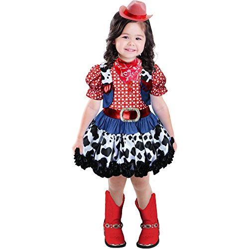 Western Rodeo Princess Halloween Costume, Red Black and Blue Size 2T Toddler -