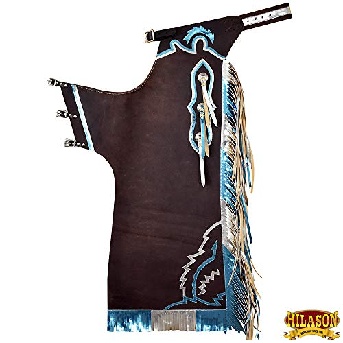 HILASON Bull Riding Pro Rodeo Chaps Brown Smooth Leather Bronc Show Adult