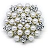 Katie's Style Simulate Pearl Rhinestone Flower Corsage Wedding Brooch Pin