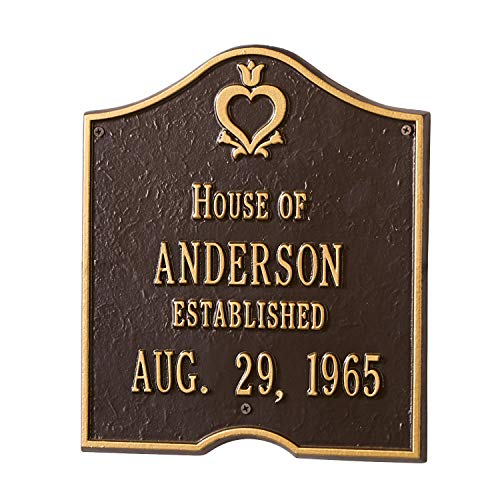 Whitehall Personalized House of Custom Aluminum Indoor/Outdoor Anniversary Wall Plaque - Bronze and Gold