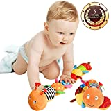 Musical Caterpillar Toy, Jcobay Interactive Multicolored Infant Toy Stuffed Cuddly Baby Toy with Ruler Design, Bells and Rattle Educational Toddler Plush Toy for Newborn, Boys, Girls and Over 3 Month