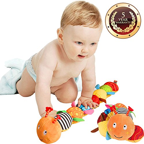 Jcobay Musical Caterpillar Toy, Interactive Multicolored Infant Toy Stuffed Cuddly Baby Toy with Ruler Design, Bells and Rattle Educational Toddler Plush Toy for Newborn, Boys, Girls and Over 3 Month from Jcobay