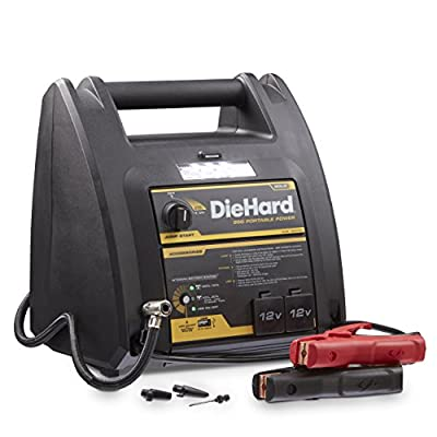 DieHard 71687 Gold Portable Power 950 Peak Amp 12 volt Jump Starter & Power Source with 1-USB 2-12V Power Ports & 150 PSI Air Compressor by DieHard