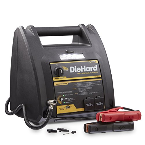 DieHard 71687 Gold Portable Power 950 Peak Amp 12 volt Jump Starter & Power Source with 1-USB 2-12V Power Ports & 150 PSI Air Compressor