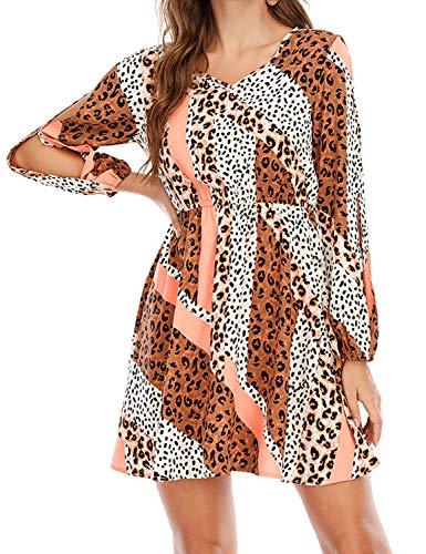 Tanst Sky Casual Dress for Women Short, A line Dresses Novelty V Neck Holiday Party Dress Lightweight Summer Clothes Elegant Lantern Sleeve Mini Sundress Orange L