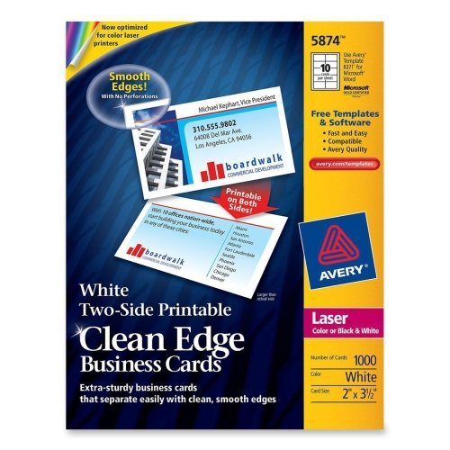 Wholesale CASE of 5 - Avery Clean Edge Laser Business Cards-Business Cards,F/Laser Printer, 1000/PK,3-1/2