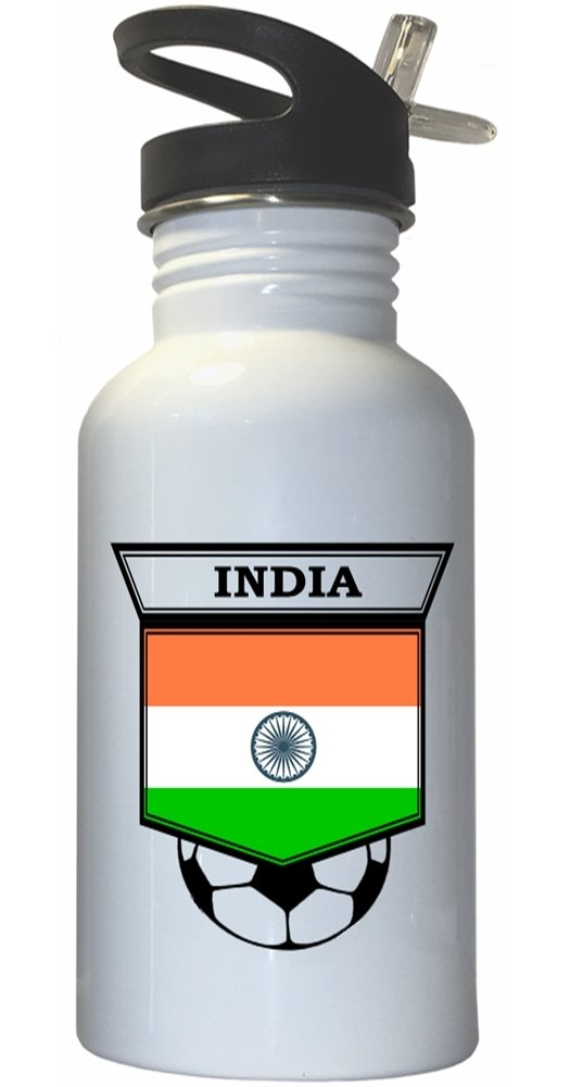 Indian Soccer White Stainless Steel Water Bottle Straw Top - India