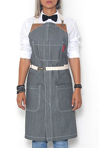 Under NY Sky No-Tie Apron - Hickory Stripe Twill - Brown Leather - Split-Leg