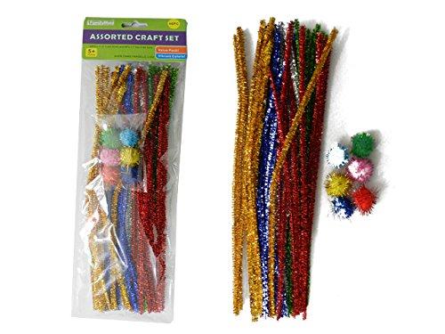 46PC Glitter Craft Set, 11.8''L Sticks & 1''Dia Craft Balls , Case of 96 by DollarItemDirect