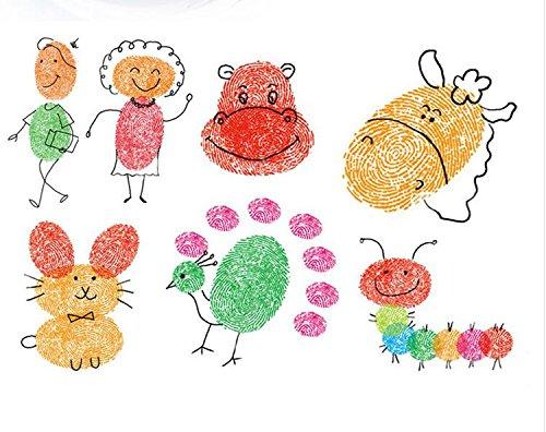 Zehui 20 Colors Rainbow Finger Ink pad Set for Kids DIY Scrapbooking (Minecraft Halloween Stencils)