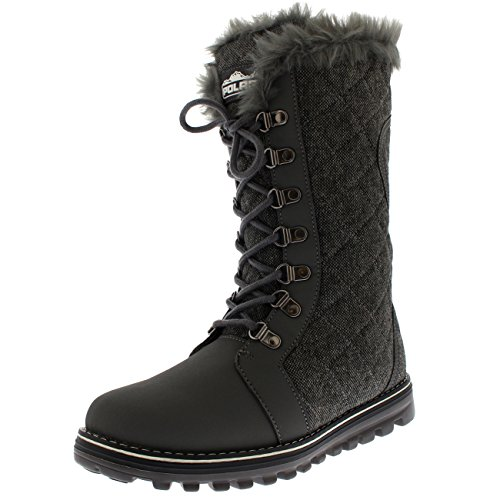 Polar Products Womens Quilted Comfy Winter Rain Warm Snow Faux Fur Lined Knee High Boot - Gray Textile - US10/EU41 - YC0501 (Winter Quilted Boots)