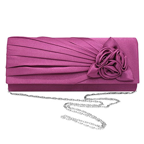 Prom Ladies Bag Clutch Purple Rose Evening Wedding Ivory Shoulder Bag Handbag Satin Cckuu zTwdWqFz