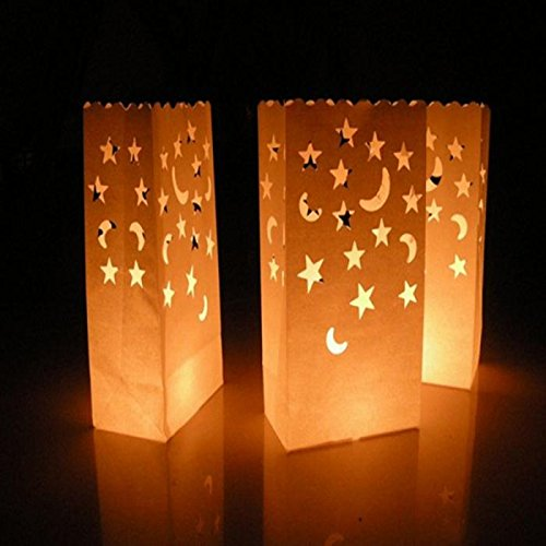 Halloween Luminary Bag Designs (Since White Luminary Bags - 20 Count - Star Moon Design - Wedding, Reception, Party and Event Decor - Flame Resistant Paper - Luminaria (Star)