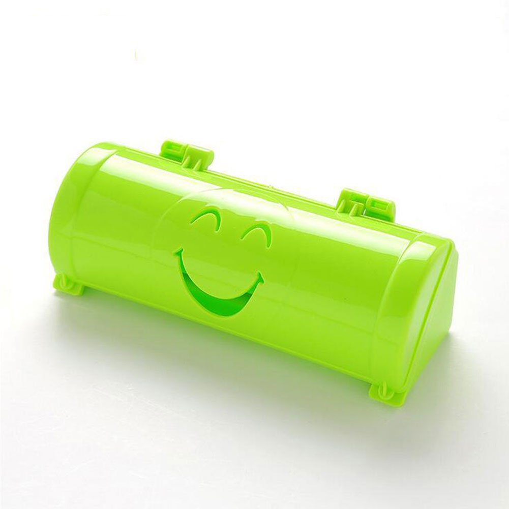Slendima Durable Smile Face Kitchen Wall Self Sticky Cartoon Garbage Bag Receiving Box Container - 5.85'' x 6.32'' x 4.8'' Green