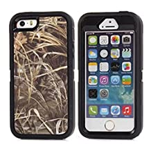 "iPhone 5 5S SE Case, Heavy Duty Tree Camo Defender Series Full-body Protective Hybrid 3-piece Cover Built-in Screen Protector Case for Apple iPhone 5/5S/SE 4"" (Black Straw)"