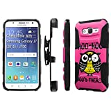 Galaxy [J7] Armor Case [SlickCandy] [Black/Black] Heavy Duty Defender [Holster] [Kick Stand] Phone Case - [Hoo is There Owl] for Samsung [Galaxy J7]
