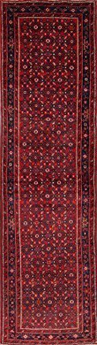 (Rug Source One-of-A-Kind Hossainabad Geometric Hand-Knotted 4x13 Red Wool Persian Runner Rug (12' 11