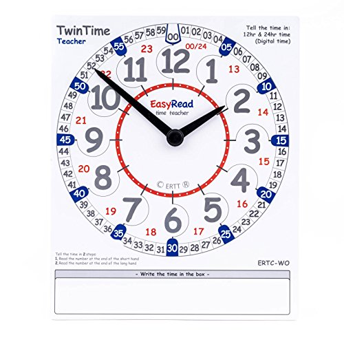 EasyRead TwinTime Teacher Edition, 13.5'' x 12.5'' cm, double-sided write-on wipe-off demonstration clock card by EasyRead time teacher