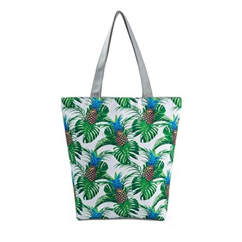 Logobeing Mujer Bolsos Tote Lienzo Impreso de Viento Nacional Bolsas de Playa Casual Bolsos de Mujer Bolso de Compras Shopers Bags B
