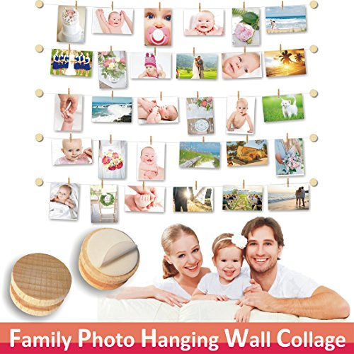 FAMILY PHOTO DISPLAY & Artwork Display | Self Adhesive | Easy Install | Modular | Natural Wood | 10 Wall Button Holders | 30 Mini Wooden Pegs | 20 ft White Twine | Perfect Family Wall (Family Display)