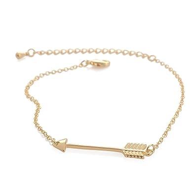 1c008a1de546c Amazon.com: CHOA Womens Simple Arrow Bracelet - Gold Silver ...