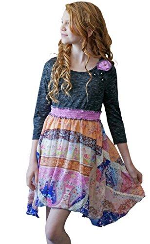 Truly Me, Big Girls Smocked Waistband w/Hanky Hem Dress, 7-16 (Smocked Waistband)