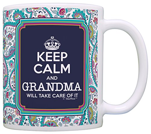 Keep Calm Grandma Coffee Paisley