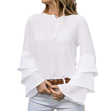 bbd54ba34f595 Womens Tops Chiffon Long Sleeve Casual Simple Plain Belle Tunic Blouse Tops  for Ladies Teen Girls Vintage Loose Flare Jumper Sweatshirts Pullover Plus  Size ...