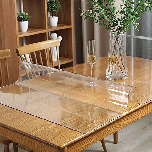 Multi Size 1.5mm Thick Custom Clear Rectangular PVC Table Protector Plastic Tablecloth Furniture Protective Cover Wooden Desk Top Coffee Dining Wood Furniture Buffet End Countertop Mat 54x54 inch