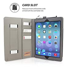 "iPad Air and New iPad 2017 9.7"" Case, Snugg Executive Grey Leather Smart Case Cover [Lifetime Guarantee] Apple iPad Air and New iPad 2017 9.7"" Protective Flip Stand Cover With Auto Wake/Sleep"