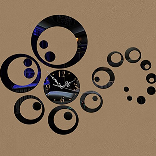 yanQxIzbiu DIY Wall Clock, Circles 3D Modern Mirror Wall Clock Watches Stickers Decals Home Room DIY Decors - Black