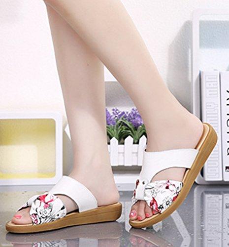 YAANCUN Mujeres Cuero Sandalias Para Zapatos De Las Del Verano De Las Atín Sandalias Planas Como la imagen 2