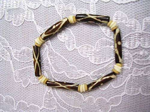 Brown Natural Deco Design Bone Bead Stretch Bracelet KEZ-3656