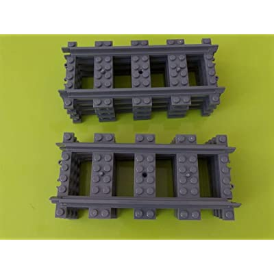 8 x Raíles de tren rectos para ciudad de Lego: Juguetes y juegos
