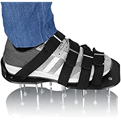 YXMYH Lawn Aerator Shoes/ Heavy Duty Spiked Sandals with 4 Metal Buckles for Aerating Your Lawn or Yard
