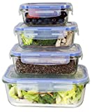 : [Premium 4 Sets] Glass Meal Prep Food Storage Container with Snap Locking Lid, Glass Meal Prep Containers BPA-Free, Microwave, Oven, Freezer, Dishwasher Safe (62 Oz, 28 Oz, 19 Oz, 11 Oz.)