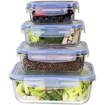 Amazoncom Premium 4 Sets Glass Meal Prep Food Storage Container