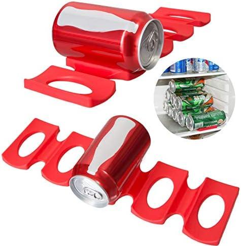 QIXINHANG LIHAO 2X Flaschenhalter Kühlschrank Silikon Stapelhilfe Flaschenablage Bier Halter ür Flaschen und Dosen, Rot (Mehrweg)