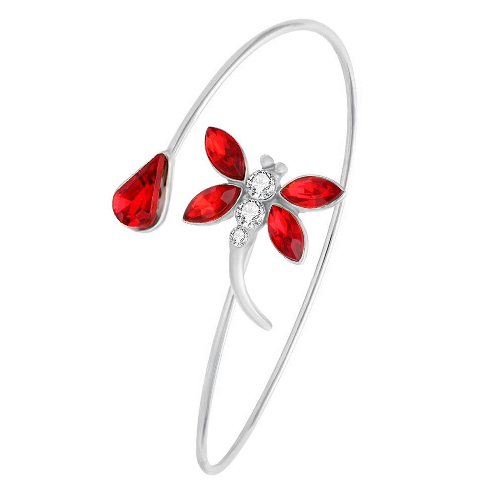 RUXIANG Double Color Rhinestone Flying Dragonfly Insects Cuff Opening Bangle Jewelry (silver)
