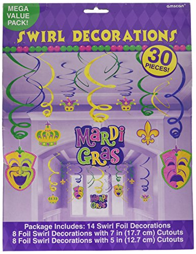 [Mardi Gras Hanging Swirl Party Decorations, Foil, 18