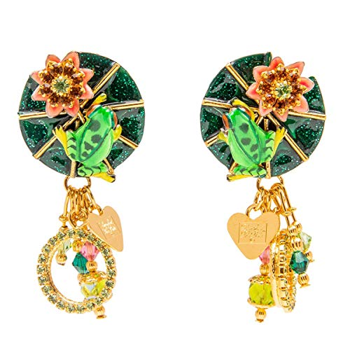 (Lunch At The Ritz Frog and Lily Pad Swarovski Crystal Enamel Drop Dangle Clip Earrings (Goldtone) for Women)
