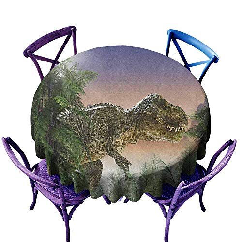 ONECUTE Waterproof Table Cover,Jurassic Dinosaur in The Jungle Trees Forest Nature Woods Scary Predator Violence,Party Decorations Table Cover Cloth,70 INCH Green Blue Peach]()