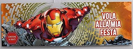 Blocchetto Da 30 Inviti Compleanno Festa Disney Marvel Avengers