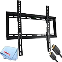Low Profile Flat Screen TV Wall Mount for 23-56 TVs + Gold Plated 6 Foot HDMI Cable + Tronixpro Microfiber Cloth