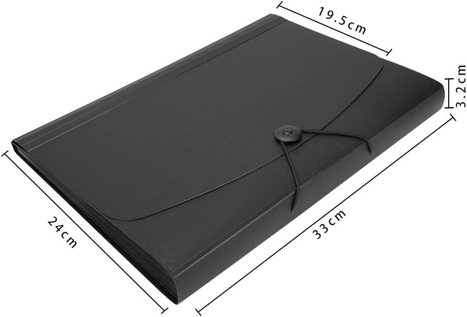 para oficina negocios carpeta de archivos 13 compartimentos carpeta expansible Carpeta archivadora DIN A4 con goma el/ástica arte color Reines Schwarz A4 de pl/ástico escuela
