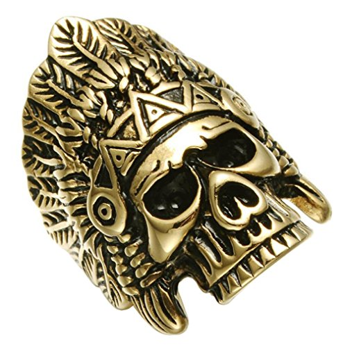 (PAURO Men's Skeleton Head Native American Skull Gold Plated Stainlee Steel Indian Ring Feather Crown Headdress Cool Punk Boys Band Size)