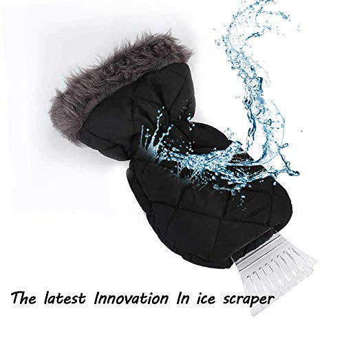 TKKEUEP Ice Scraper Mitt for Windshield -Waterproof Snow Ice Scrapers Glove Lined Thick Fleece Durable Ice Scrapers (Black)